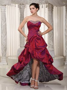 Wine Red Beaded Sweetheart Youth Pageant Dress Embellished High Low