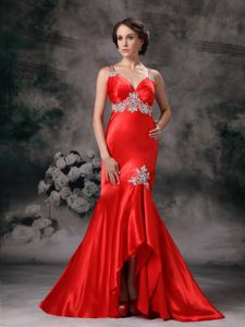Red Pageant Dress with White Appliques and Court Cris Cross Back