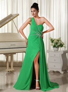 Green One Shoulder Miss Universe Pageant Dress Decorated High Slit
