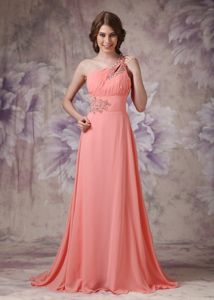 One Shoulder Pageant Dress for Girls with Beading and Lace Up Back