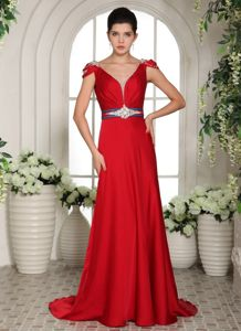 V-neck Red Pageant Dress with Beaded Sash and Cap Shoulder in Orr