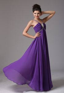 Purple Pageant Dress with Beaded Straps and Ruche in Bloomfield Hills