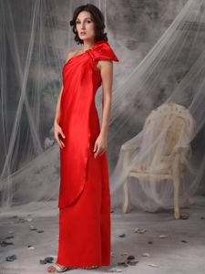 Half Bowknot Decorated Red One Shoulder Pageant Dress in Britain