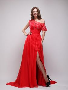Bright Red Asymmetrical Pageant Dresses with Appliques form Wilmington