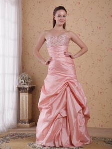 Beaded Ruched Baby Pink Sweetheart Pageant Dresses in Taffeta in Acton