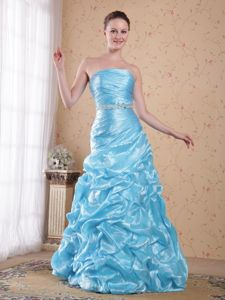 Organza Beaded Aqua Blue Pageant Dresses with Strapless form Raleigh