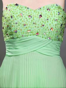Apple Green Sweetheart Chiffon Pageant Dresses in Beading form Wayne