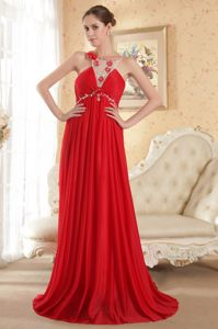 Scoop Court Train Red Empire Beaded Pageant Dresses in Chiffon in Tyler
