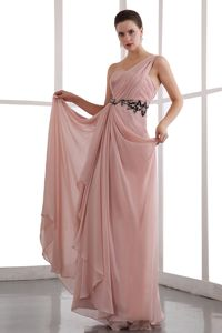 Peach Puff One Shoulder Chiffon Pageant Dresses with Appliques in Tyler