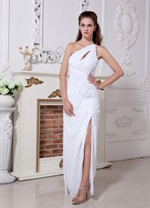 White One Shoulder Floor-length Pageant Dresses with Ruches in Aptos