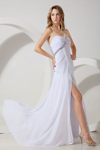 White Empire One Shoulder Beaded Pageant Dresses in Chiffon in Tulsa