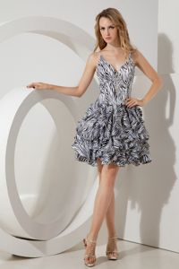 Straps Mini-length Print Short Pageant Dress in Zebra from Longview