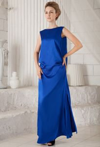Blue Bateau Ankle-length Pageant Dress in Elastic Woven Satin in Union