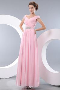 V-neck Chiffon Baby Pink Empire Pageant Dress in Beading from Utica