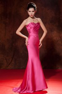 Mermaid Strapless Hot Pink Brush Pageant Dress with Ruches in Taos