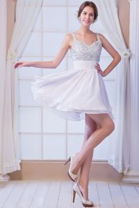 Chiffon Beaded White A-line Straps Pageant Dress in Mini-length in Tulsa