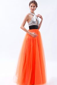 Orange Red Halter Tulle and Sequin Pageant Dress in Floor-length in Vail