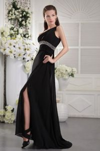 Black One Shoulder Pageant Dress with Ruches and Beading from Acton