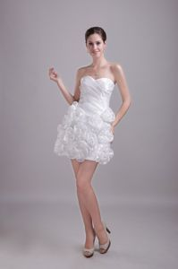 White A-Line Sweetheart Taffeta Pageant Dress with Hand Flowers in Hilo