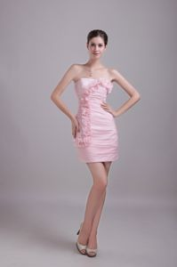 Baby Pink Hand Flowers Strapless Pageant Dress in Taffeta from Duluth