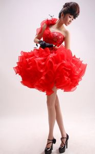 One Shoulder Ball Gown Pageant Dress with Ruffled Layers from Flint