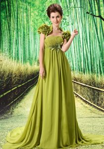 Olive Green Pageant Dress with Hand Made Flower and Ruches in Kent