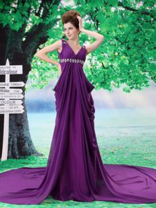 V-neck Beaded Chiffon Purple Watteau Pageant Dress in Empire in Tyler