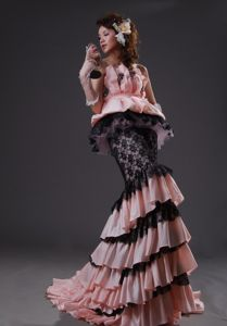 Mermaid Light Pink Black Taffeta Lace Pageant Dress with Appliques in Tyler