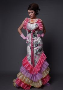 Multi-color Brush Train Handle Flower Pageant Dress in Beading in Kent