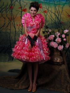 Paillette Strapless Sequins Mermaid Pageant Dress in Hot Pink in Auburn