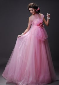 Albert Lea Hand Made Flower Decorate Bust Tulle Baby Pink Beading Floor-length Prom / Evening Dress For 2013