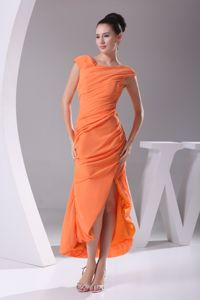 Sheath Scoop Tea-length Prom Pageant Dresses with Side Slit and Cap Sleeves