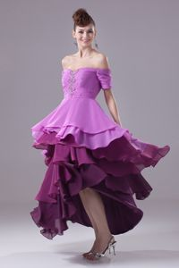 Ruffled Layers Off The Shoulder High Low Prom Pageant Dresses with Beading