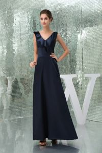 Ankle-length V-neck Beautiful Pageant Dress in Navy Blue Popular in Madison