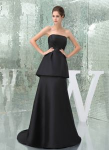 2013 Newest Black Strapless Brush Train Simple Pageant Dress Made in Nashville
