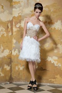 Sweetheart Knee Length Lovely Pageant Dress with Rhinestone and Feather