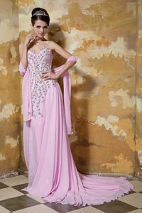 Rose Pink Sweetheart Brush Train Best Dress for Pageant with Rhinestone