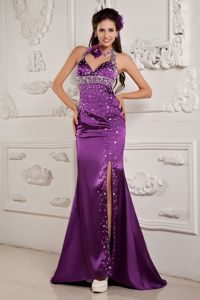 Mermaid Halter High Slit Fashionable Pageant Dress with Shining Rhinestone