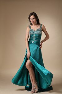 Column Straps High Slit Brush Train Pageant Dress Decorated with Beading