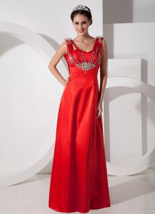 Pretty Red Empire V-neck Evening Pageant Dress with Rhinestone in Satin Fabric