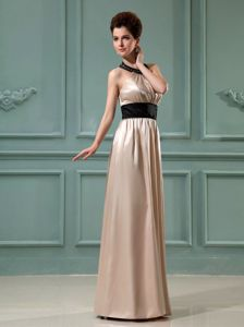 Halter Column Floor-length Prom Pageant Dresses with Belt in Champagne