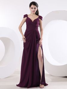 Sexy High Slit V-neck Prom Pageant Dress With Cap Sleeves Made in Raleigh