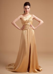 Unique High Slit One Shoulder Fashionable Pageant Long Dress with Rhinestone