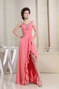 New Special V-neck Ruched Perfect Pageant Dresses for Girls in Watermelon