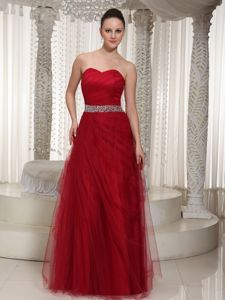 Cheap Red Sweetheart Dresses For Pageants with Beading in Tulle