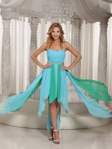 High-low beaded Pageant Dress For USA in Aqua Blue and Green
