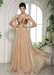 Ruched Pageant Dresses in Champagne with Sweetheart Neckline