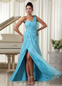 Aqua Blue One Shoulder Pageant Dress with High Slit and Ruche