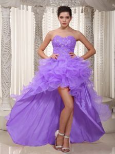 Lavender Asymmetrical Pageant Dress with Sequins and Ruffles