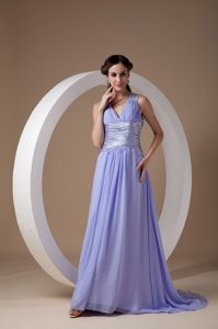 Prom Pageant Dresses with V-neck and Ruche in Lilac Color
